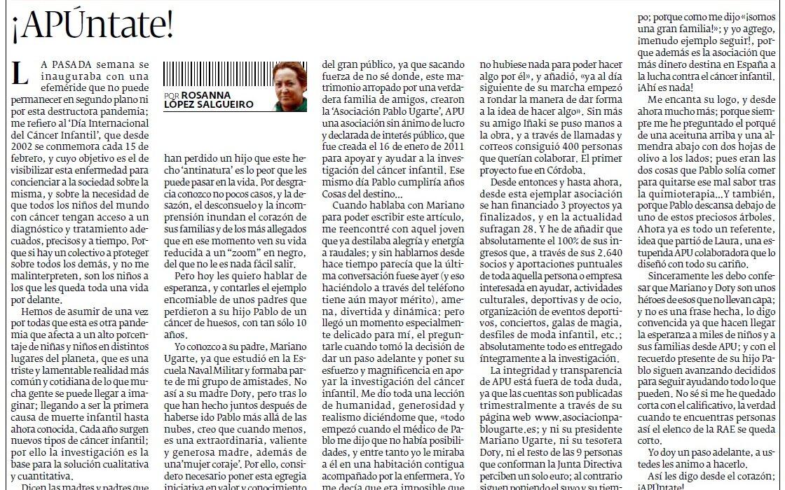 Artículo de Prensa en «El Progreso»